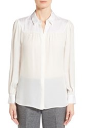 Classiques Entier Shirred Yoke Stretch Silk Blouse White