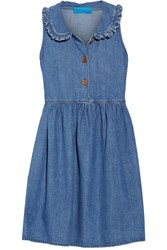 Mih Jeans Ruffle Trimmed Chambray Mini Dress Mid Denim