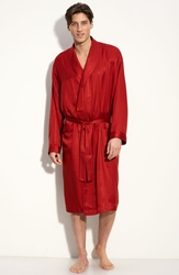 Majestic International Herringbone Stripe Silk Robe Mahogany