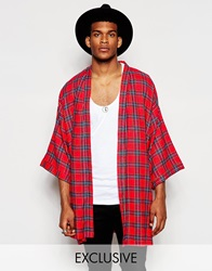 Reclaimed Vintage Tartan Kimono In Mid Length Red