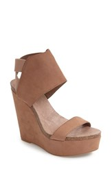 Vince Camuto Women's Kresta Platform Wedge Sandal Taupe Nubuck Leather