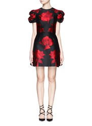 Alexander Mcqueen Rose Jacquard Puff Sleeve Dress Black