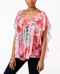 Jm Collection Printed Butterfly Sleeve Top Only At Macy's Whispers Shadow