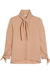Balenciaga Pussy Bow Silk Georgette Blouse Neutral