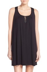 Women's Midnight By Carole Hochman Satin Trim Jersey Nightgown Black