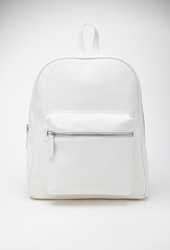Forever 21 Pebbled Faux Leather Backpack Cream