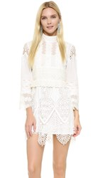 Anna Sui Victorian Embroidered Lace Tunic Dress White