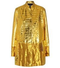 Tom Ford Embossed Metallic Leather Coat Gold