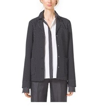 Michael Kors Polka Dot Techno Cady Pajama Shirt Black White