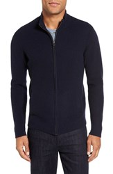 Velvet By Graham And Spencer Men's Kase Mock Neck Front Zip Cashmere Sweater Navy