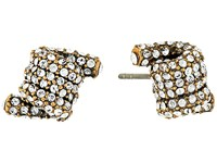 Marc Jacobs Pave Twisted Studs Earrings Crystal Antique Gold Earring Clear