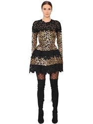 Ungaro Leopard Printed And Macrame Lace Dress