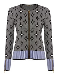 Biba Zip Up Jacquard Cardigan Multi Coloured