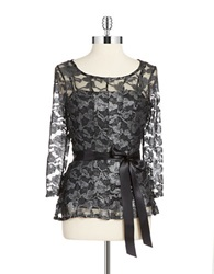 Chetta B Belted Lace Top Black Silver