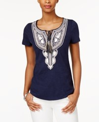 Charter Club Short Sleeve Solid Top Only At Macy's Intrepid Blue