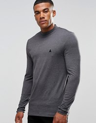 Asos Muscle Long Sleeve T Shirt With Turtle Neck And Logo In Charcoal Charcoal Grey