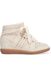 Isabel Marant Bobby Suede Wedge Sneakers Off White
