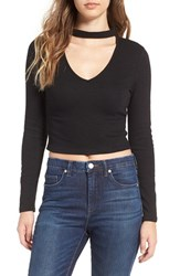 J.O.A. Women's Choker V Neck Crop Top