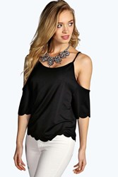Boohoo Open Shoulder Scallop Edge Top Black