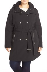 Plus Size Women's Calvin Klein Belted Hooded Soft Shell Coat