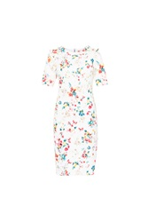 Maiocci Collection Flower Bodycon Longsleeve Dress Cream
