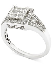 Macy's Diamond Cluster Engagement Ring 3 4 Ct. T.W. In 14K White Gold