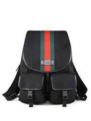 Gucci Band Signature Web Canvas Backpack Black
