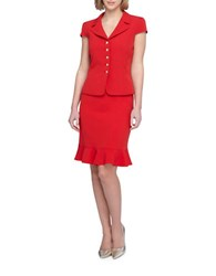 Tahari By Arthur S. Levine Notch Collar Short Sleeve Jacket Ruffle Skirt Suit Red