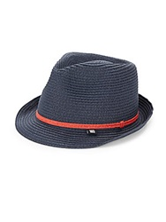 Block Headwear Paper Straw Fedora Navy Red