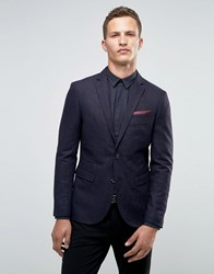 Selected Homme Broken Stripe Blazer In Slim Fit Navy