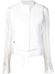 Ann Demeulemeester Panelled Sleeve Cropped Jacket White