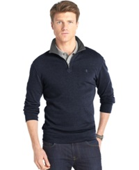 Izod Big And Tall Solid Quarter Zip Pullover Midnight