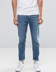 Selected Homme Mid Wash Jeans With Stretch In Slim Fit Blue