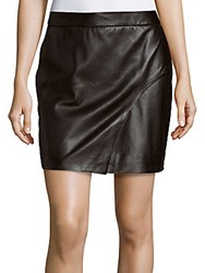 L'agence Sienna Solid Leather Skirt Black