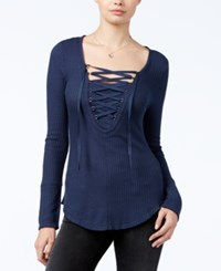 William Rast Supernova Lace Up Top Evening Indigo