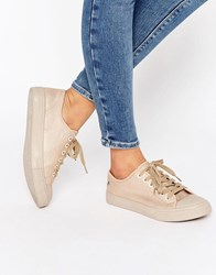 Blink Lace Up Sneaker Trainers Nude Beige