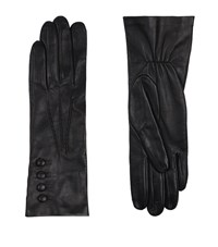 Harrods Of London Silk Lined Elasticated Leather Gloves Female Black