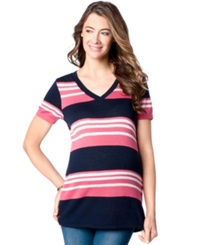Motherhood Maternity Short Sleeve Striped Sweater Pink Navy Stripe