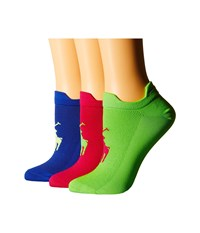 Lauren Ralph Lauren Microfiber Double Tab Ped 3 Pack With Big Pony Player Knit In Pink Women's Quarter Length Socks Shoes