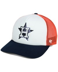 '47 Brand Women's Houston Astros Glimmer Captain Snapback Cap White Orange Navy
