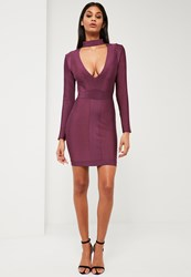Missguided Purple Premium Bandage Choker Neck Dress Plum