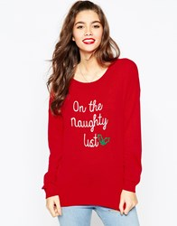 Asos Christmas Jumper In 'I'm On The Naughty List' Red
