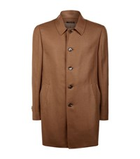 Corneliani Lightweight Wool Blend Overcoat Male Beige