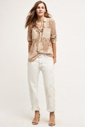 Anthropologie Embroidered Boyfriend Jeans White