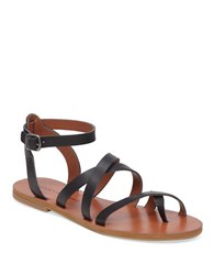 Lucky Brand Aubree Leather Flat Sandals Black