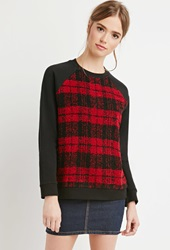 Forever 21 Fuzzy Plaid Paneled Sweatshirt Black Red