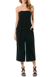 Laundry By Shelli Segal Women's Strapless Crepe Culotte Jumpsuit Black