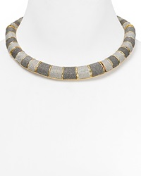 Abs By Allen Schwartz Glitter Collar Necklace 19 Gold Silver