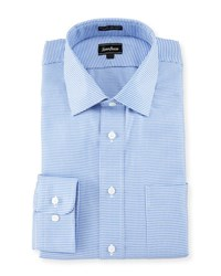Neiman Marcus Classic Fit Check Dress Shirt Blue