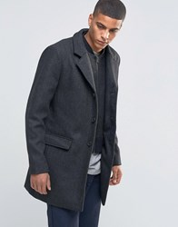 Selected Homme Herringbone Overcoat With Detachable Lining Black